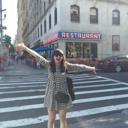 Me, outside of Monk's Diner from Seinfeld